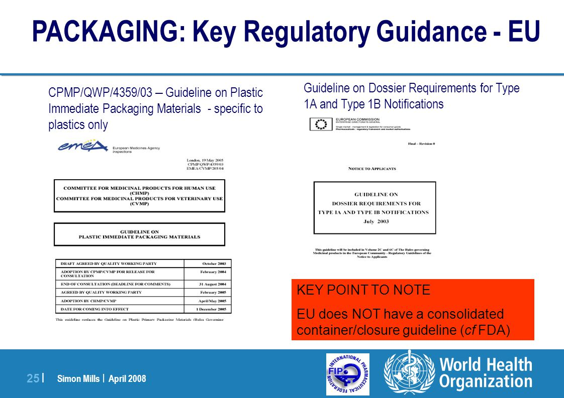 PACKAGING: Key Regulatory Guidance - EU