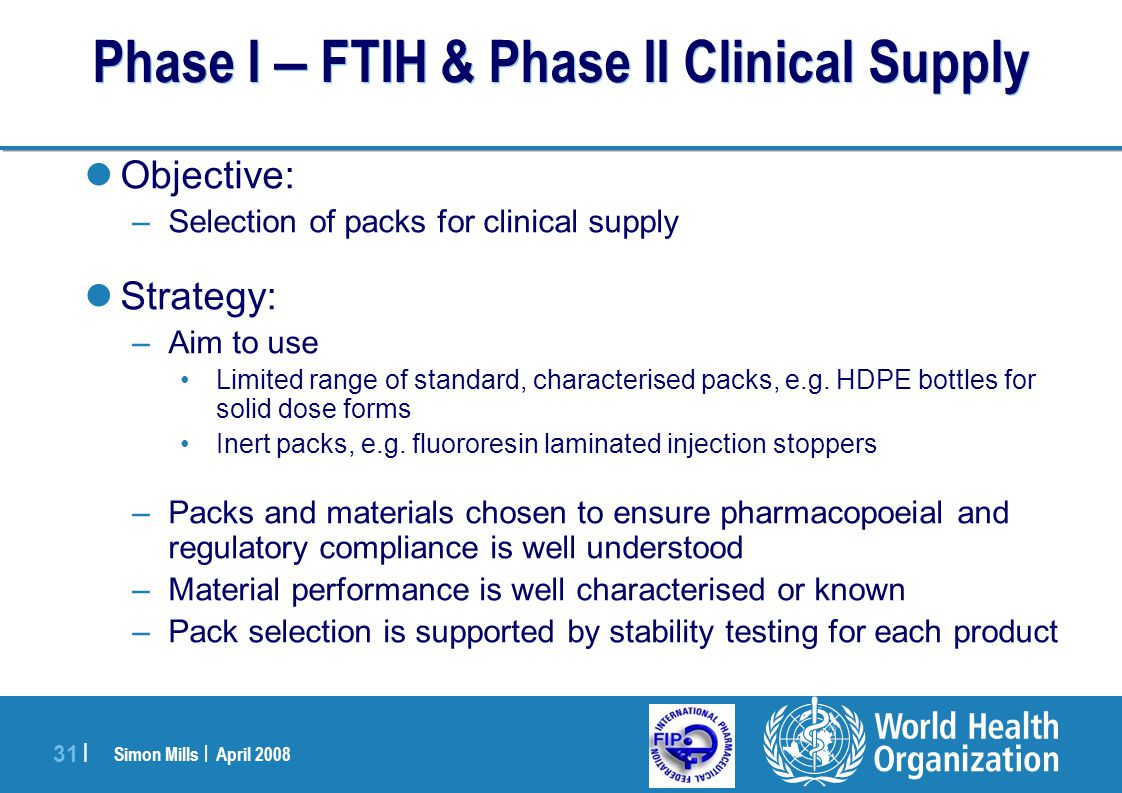 Phase I – FTIH & Phase II Clinical Supply
