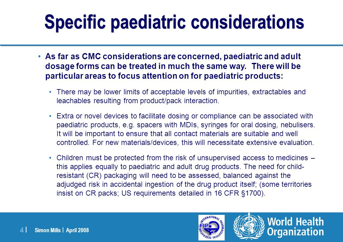 Specific paediatric considerations