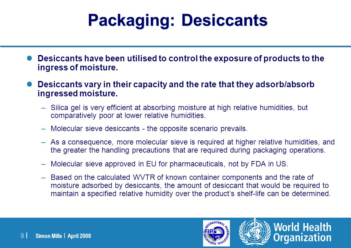 Packaging: Desiccants