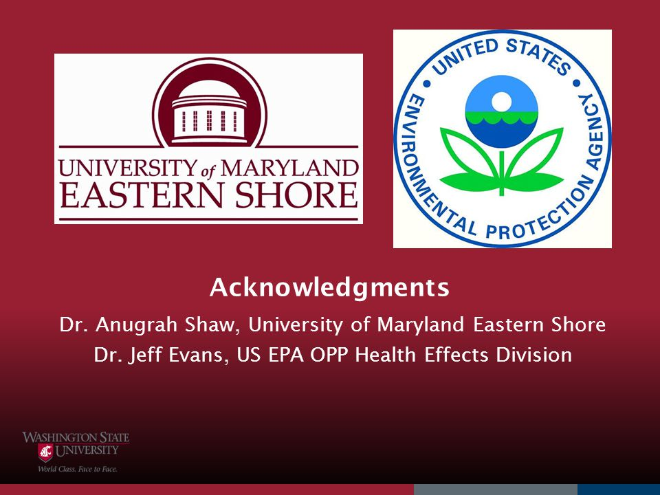 Acknowledgments Dr. Anugrah Shaw, University of Maryland Eastern Shore