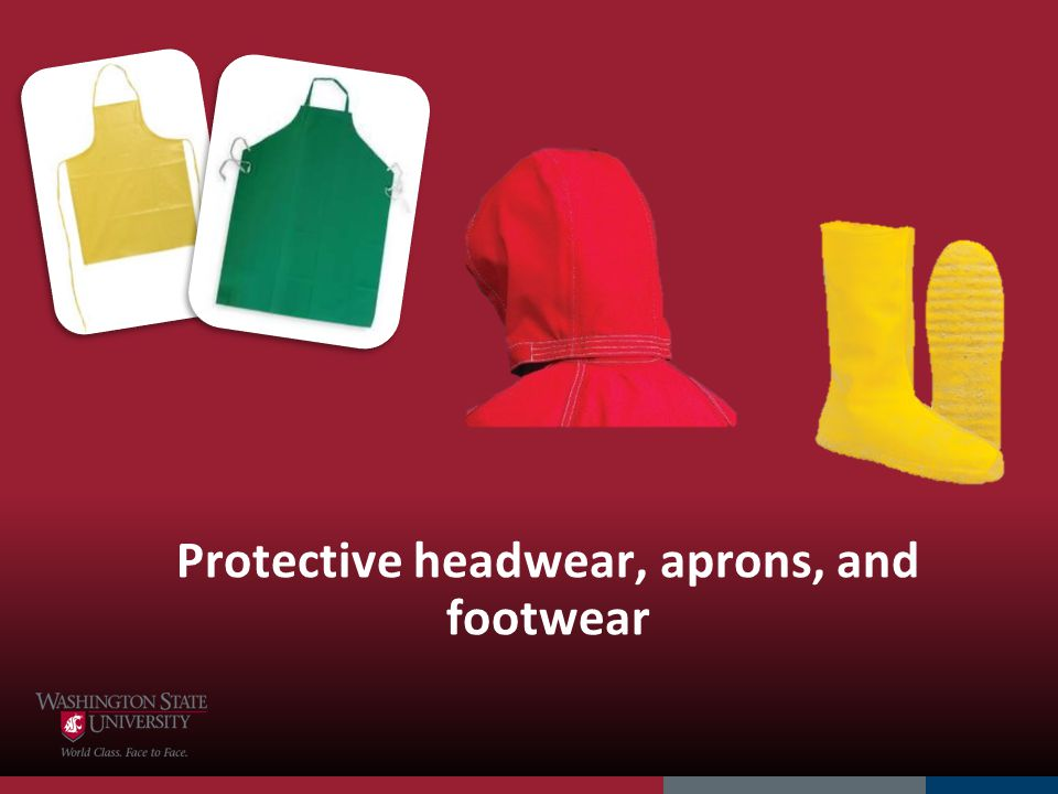 Protective headwear, aprons, and footwear