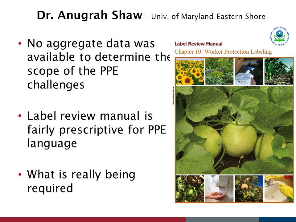 Dr. Anugrah Shaw – Univ. of Maryland Eastern Shore