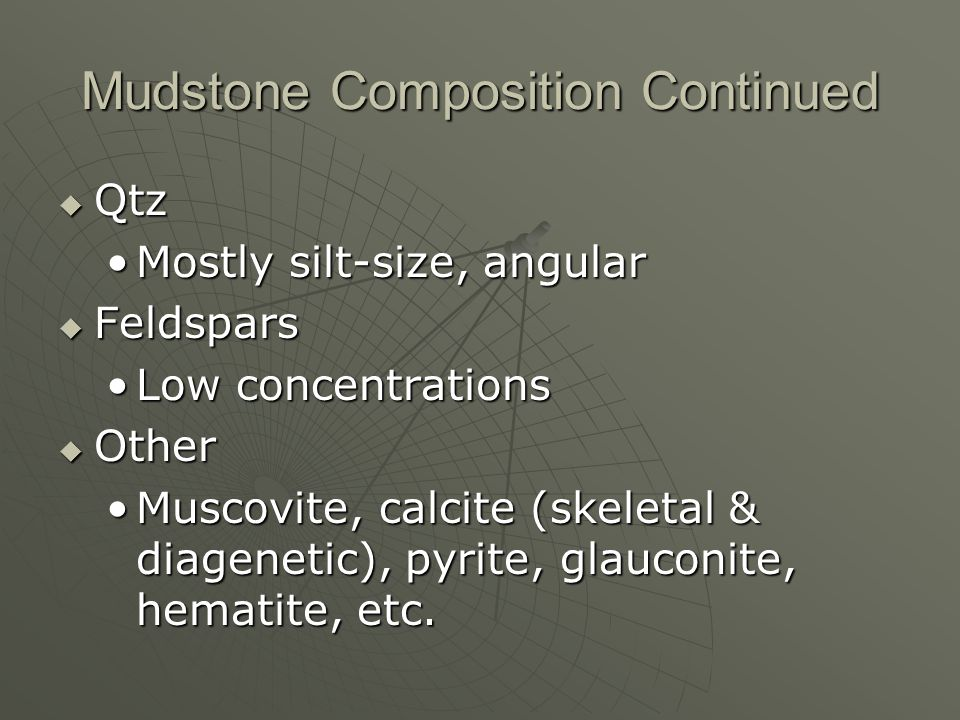 Mudstone Composition Continued