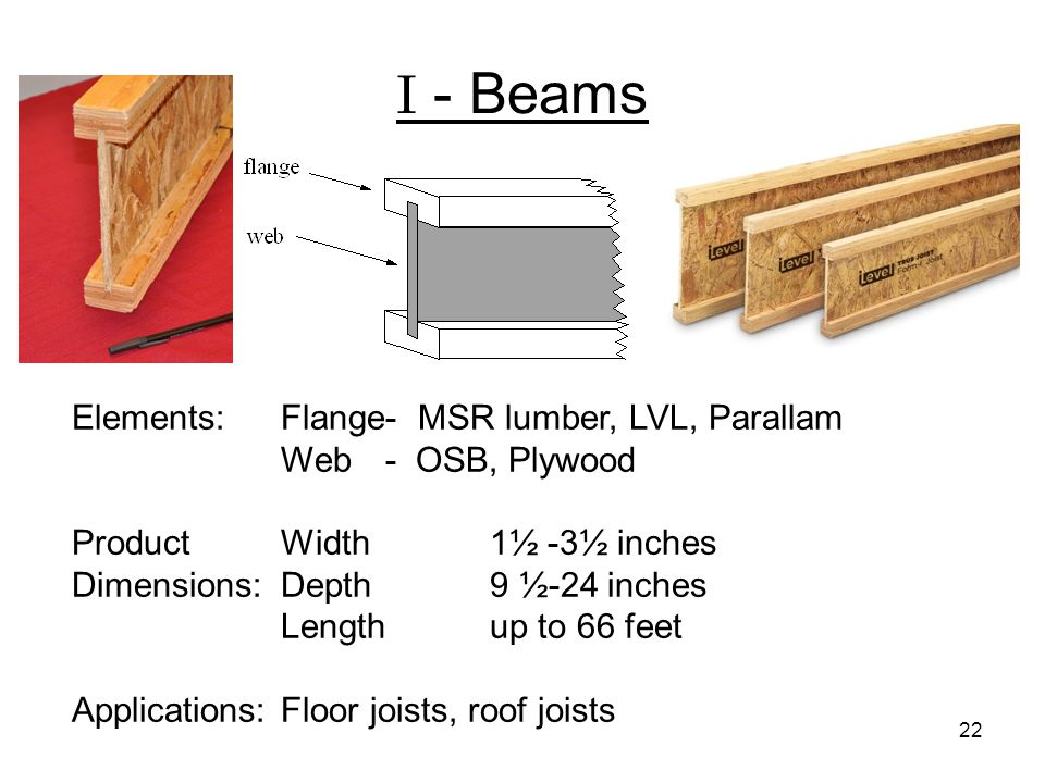 I - Beams Elements: Flange- MSR lumber, LVL, Parallam Web - OSB, Plywood. Product Width 1½ -3½ inches Dimensions: Depth 9 ½-24 inches.