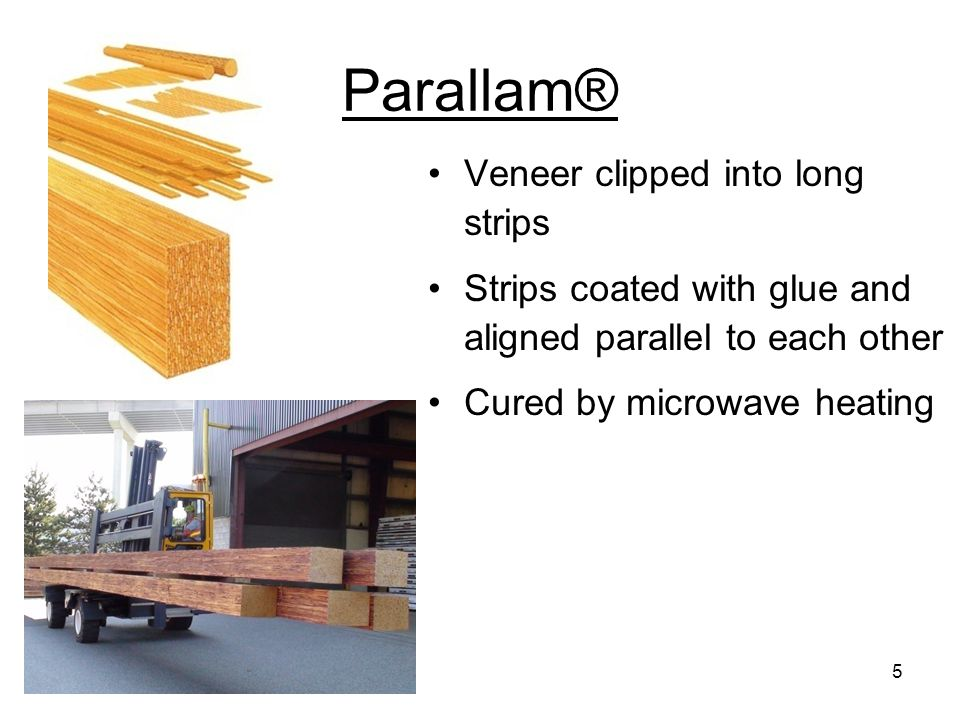 Parallam® Veneer clipped into long strips