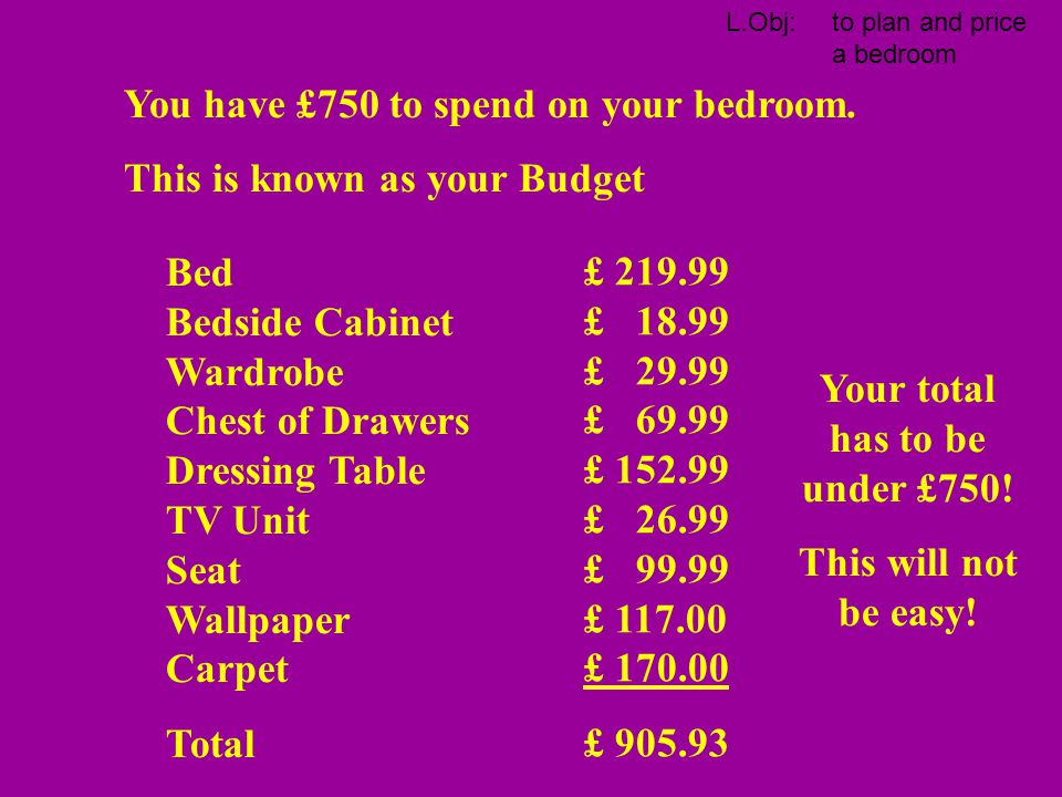 Your total has to be under £750!
