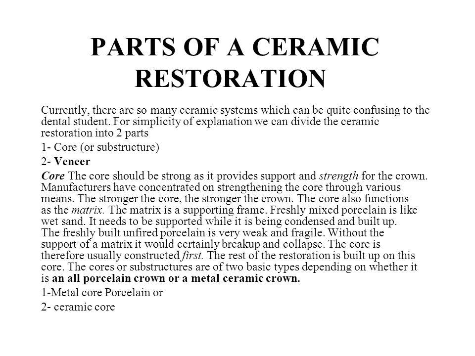 PARTS OF A CERAMIC RESTORATION