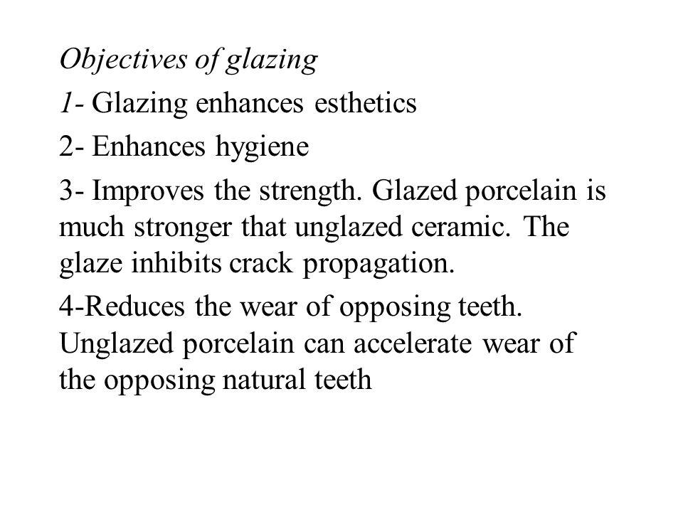 Objectives of glazing 1- Glazing enhances esthetics. 2- Enhances hygiene.