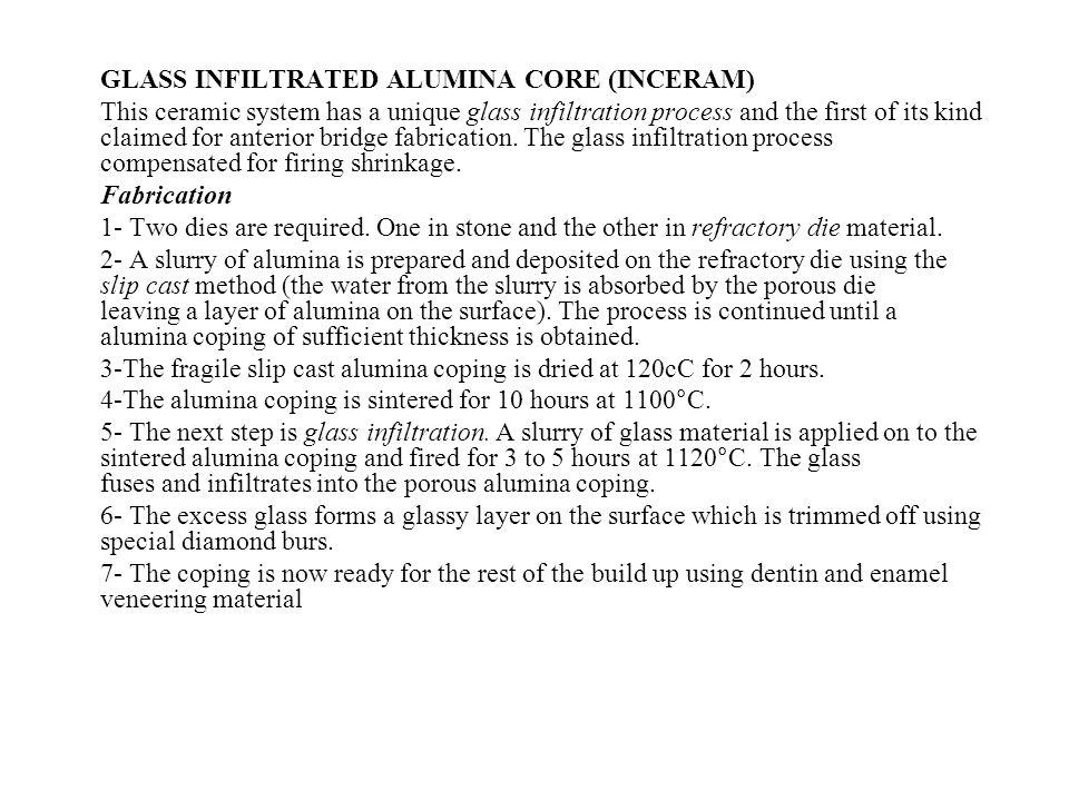 GLASS INFILTRATED ALUMINA CORE (INCERAM)