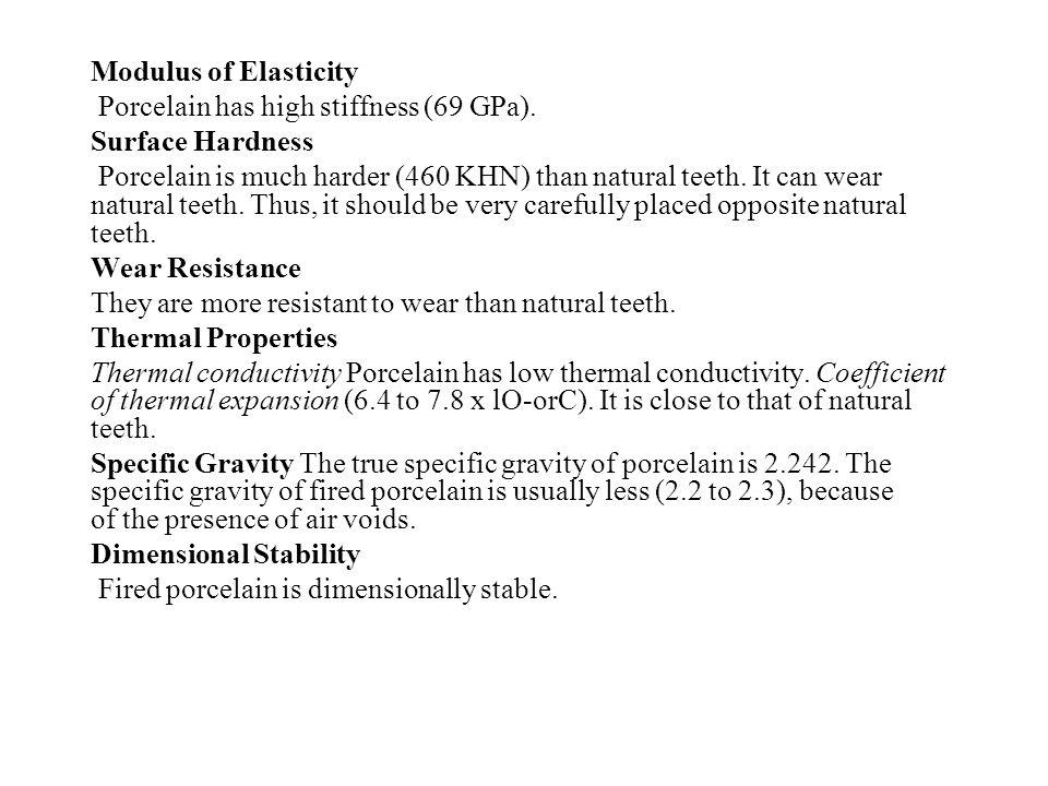 Modulus of Elasticity Porcelain has high stiffness (69 GPa). Surface Hardness.