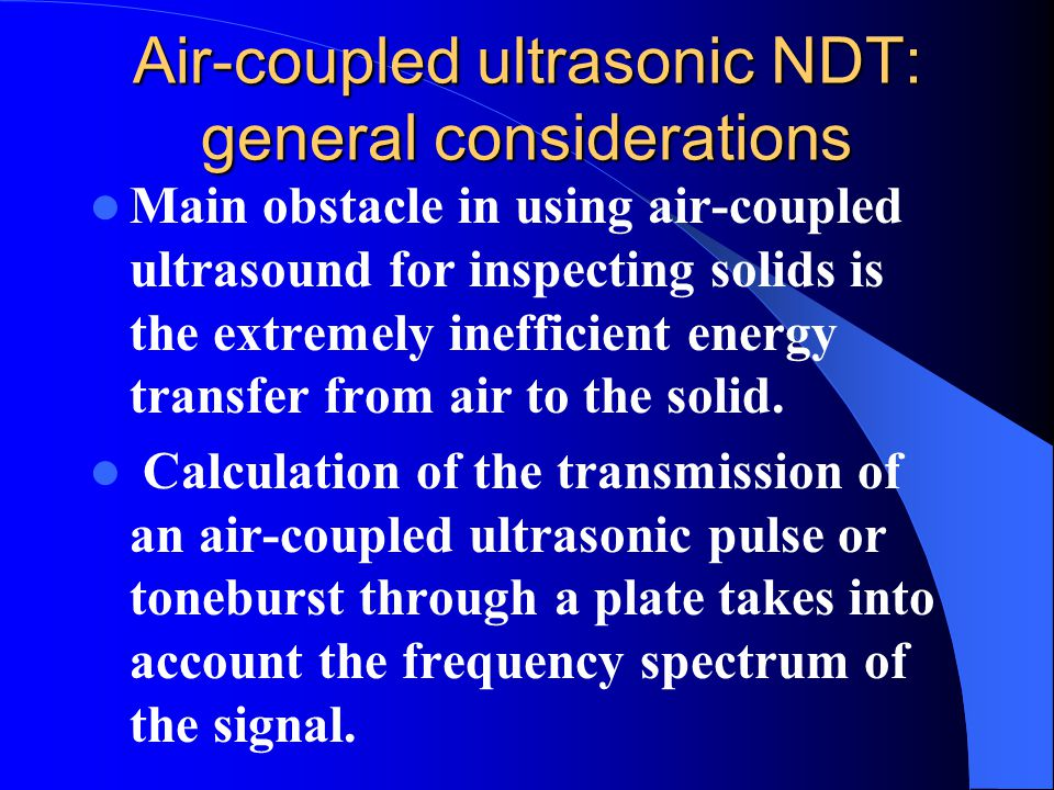 Air-coupled ultrasonic NDT: general considerations