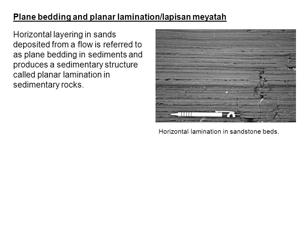 Plane bedding and planar lamination/lapisan meyatah
