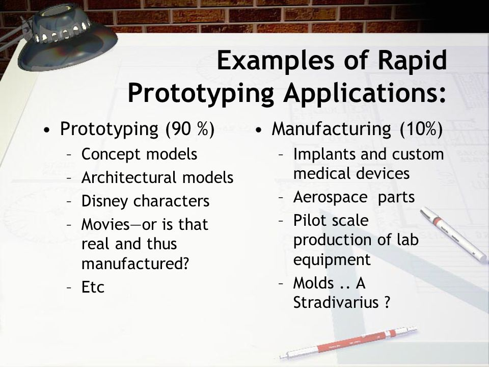 Examples of Rapid Prototyping Applications: