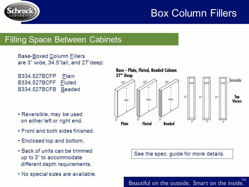 Box Column Fillers Filling Space Between Cabinets