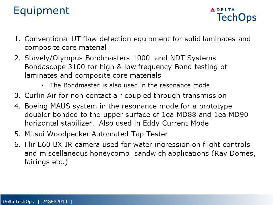 5/22/2013 Equipment. Conventional UT flaw detection equipment for solid laminates and composite core material.