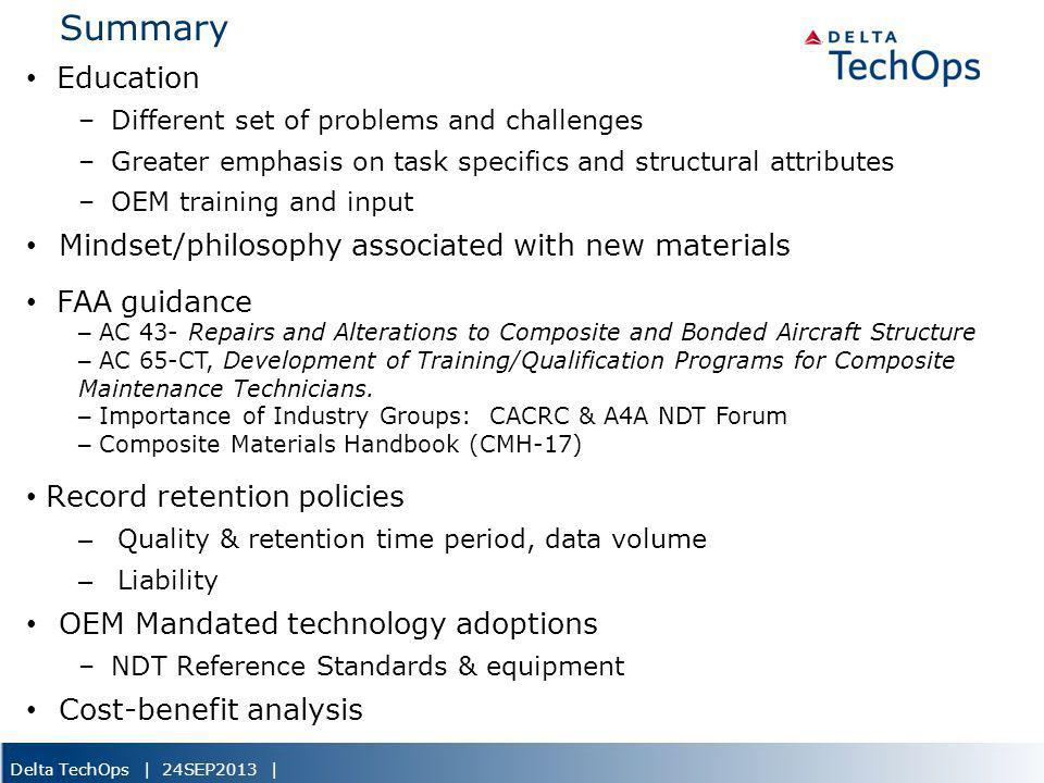 Summary Education Mindset/philosophy associated with new materials