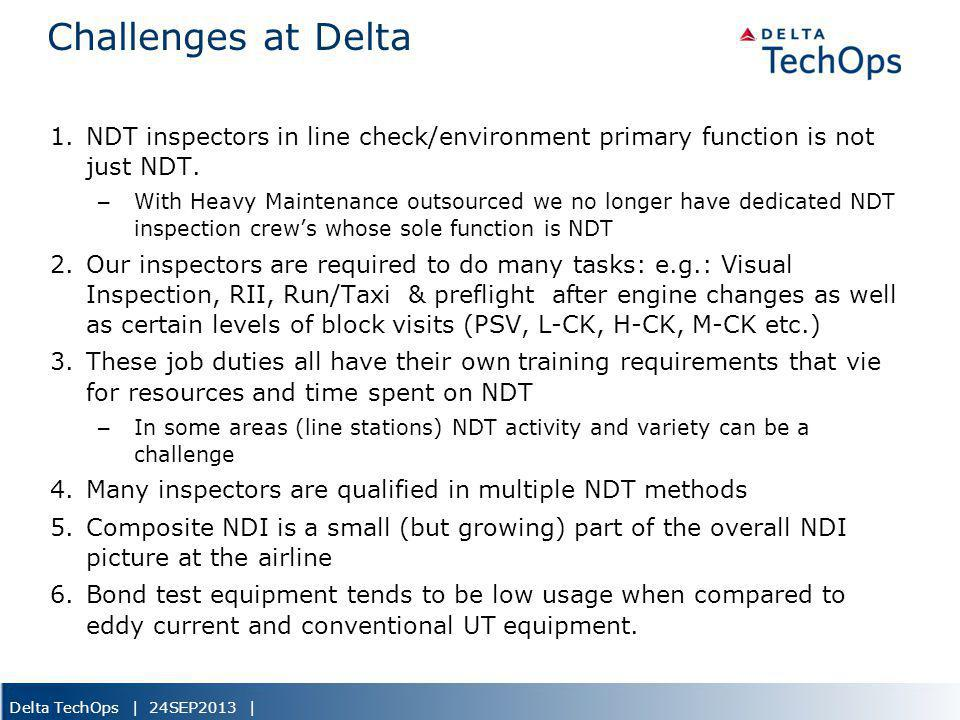 5/22/2013 Challenges at Delta. NDT inspectors in line check/environment primary function is not just NDT.