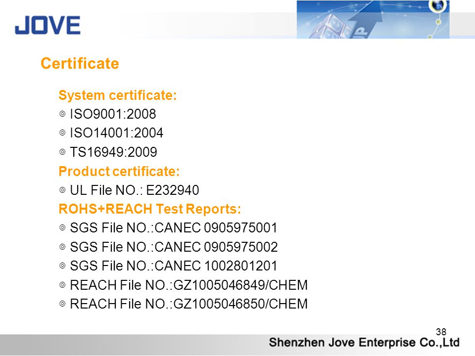 Certificate System certificate: ◎ ISO9001:2008 ◎ ISO14001:2004