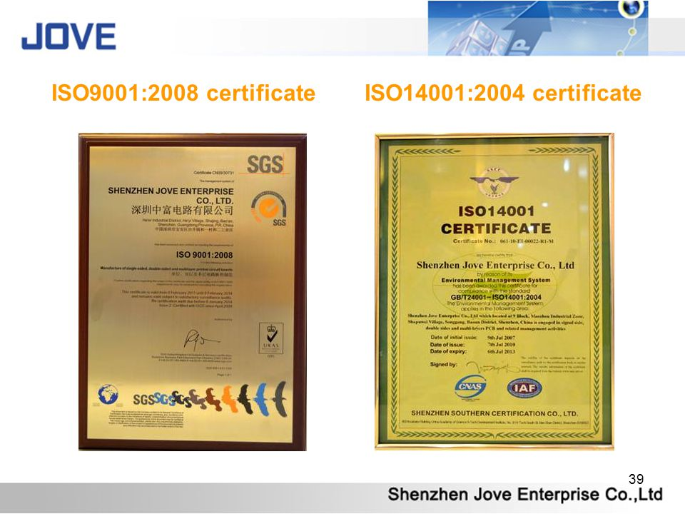 ISO9001:2008 certificate ISO14001:2004 certificate