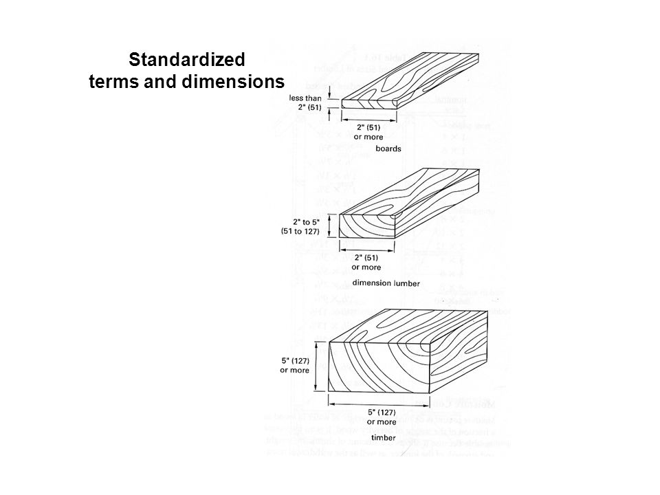 Standardized terms and dimensions