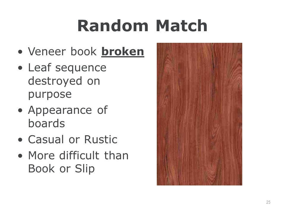 Random Match Veneer book broken Leaf sequence destroyed on purpose