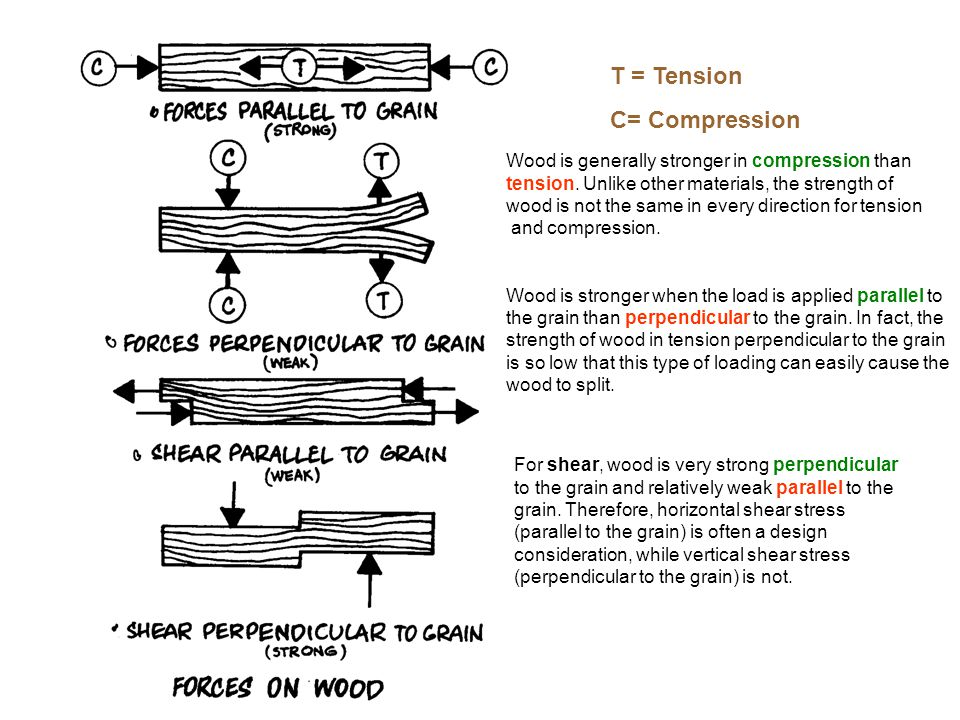 T = Tension C= Compression