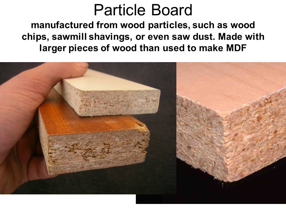 Particle Board manufactured from wood particles, such as wood chips, sawmill shavings, or even saw dust.