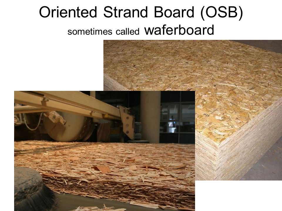 Oriented Strand Board (OSB) sometimes called waferboard