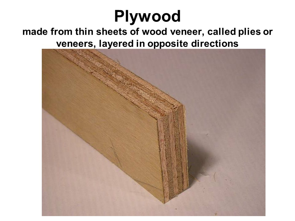 Plywood made from thin sheets of wood veneer, called plies or veneers, layered in opposite directions