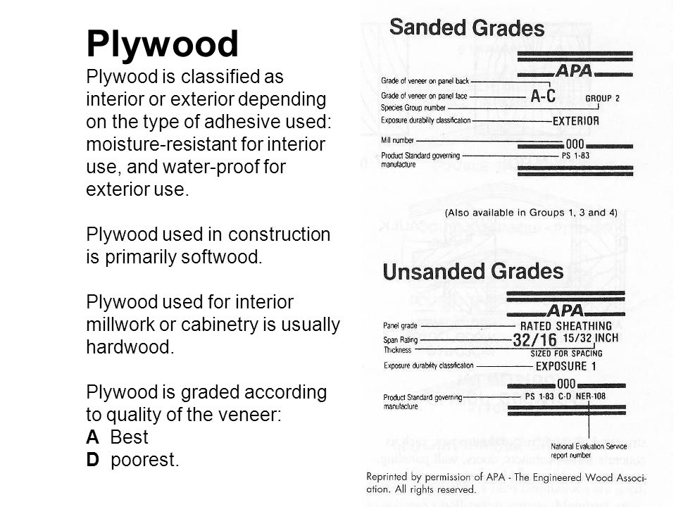 Plywood Plywood is classified as interior or exterior depending on the type of adhesive used: moisture-resistant for interior use, and water-proof for exterior use.