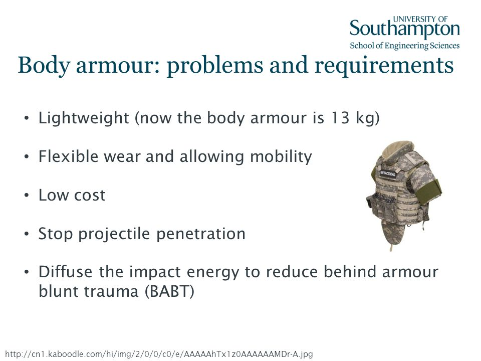 Body armour: problems and requirements