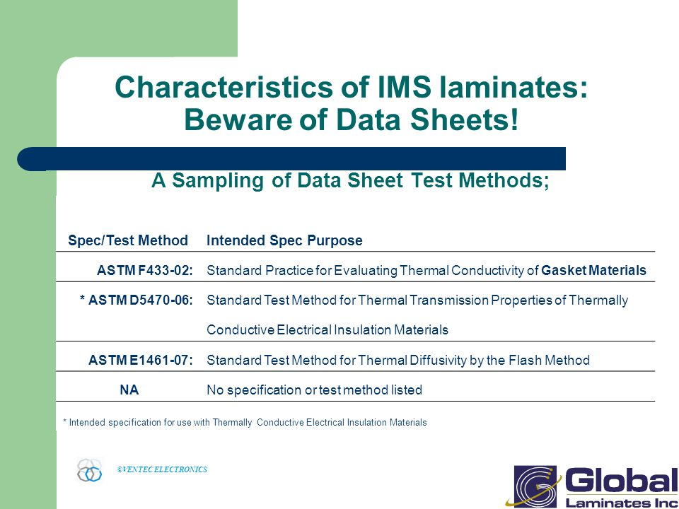 Characteristics of IMS laminates: Beware of Data Sheets