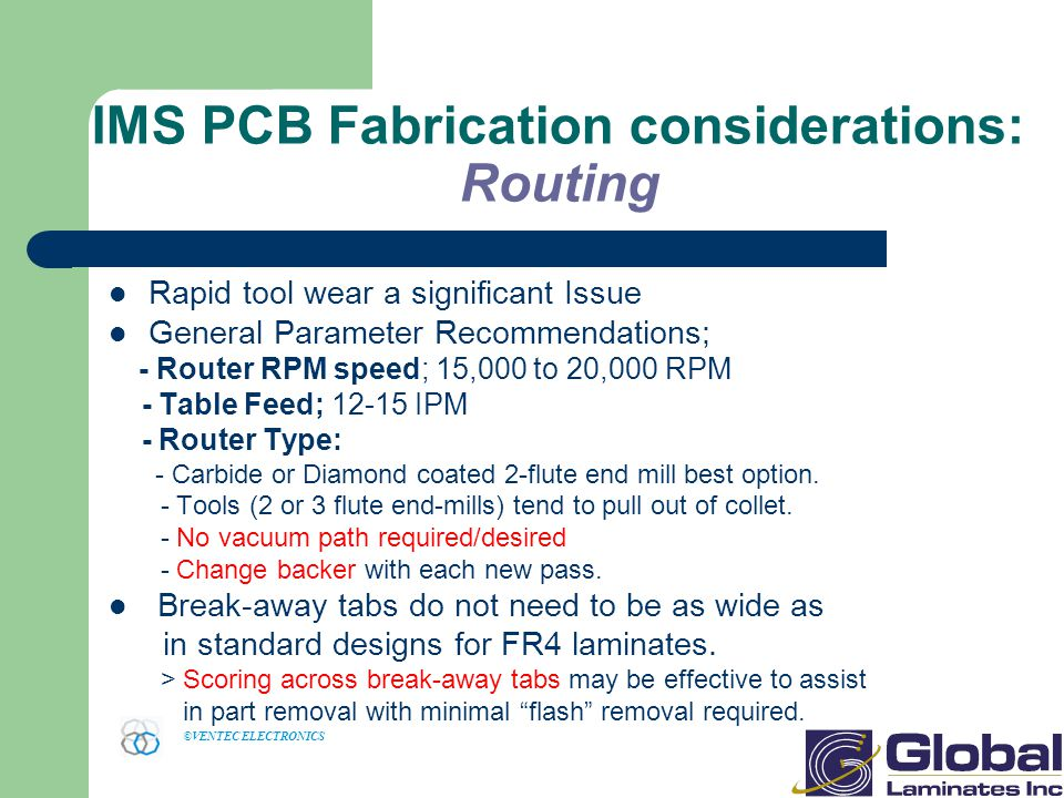 IMS PCB Fabrication considerations: Routing
