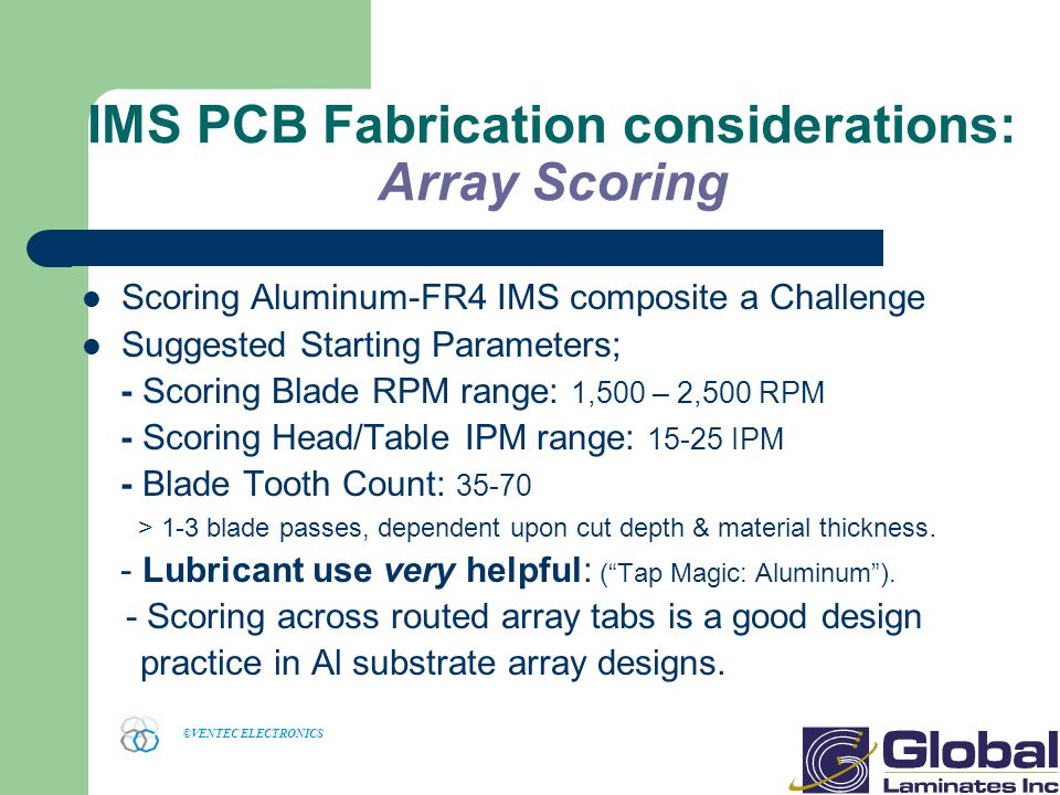 IMS PCB Fabrication considerations: Array Scoring