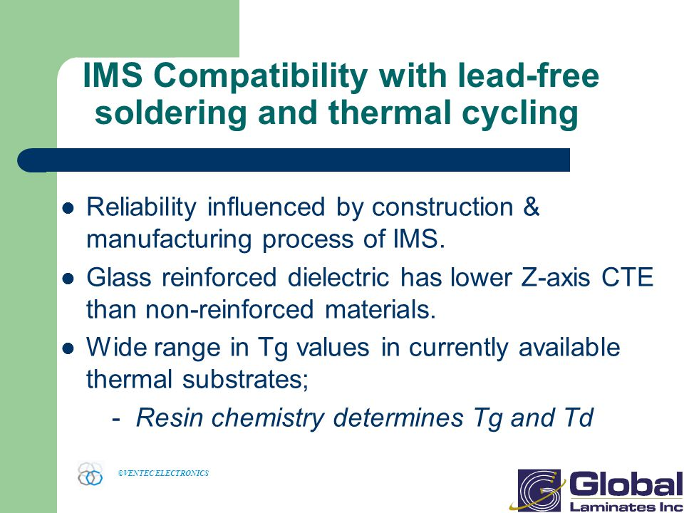IMS Compatibility with lead-free soldering and thermal cycling