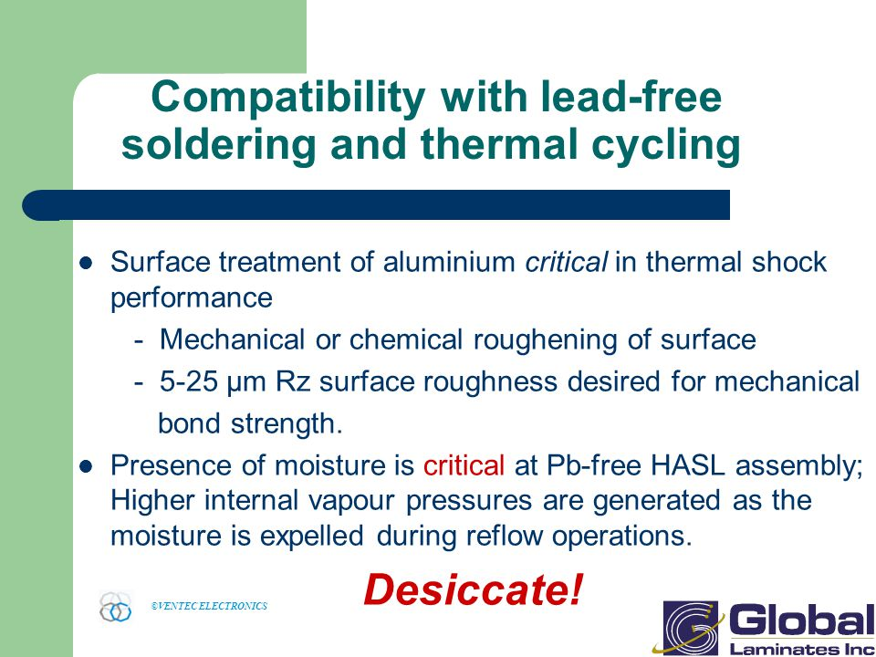 Compatibility with lead-free soldering and thermal cycling