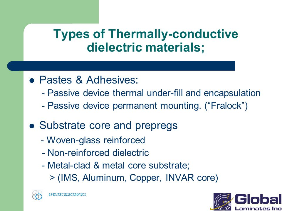 Types of Thermally-conductive dielectric materials;