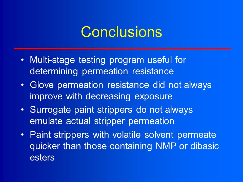 Conclusions Multi-stage testing program useful for determining permeation resistance.