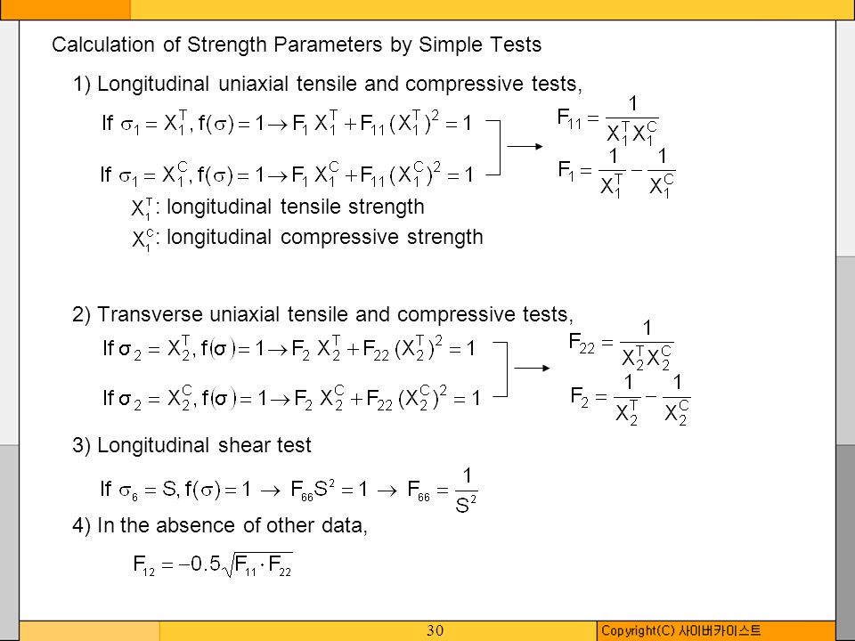 Calculation of Strength Parameters by Simple Tests