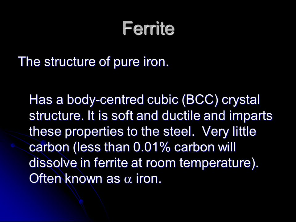 Ferrite The structure of pure iron.