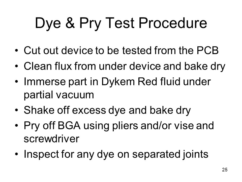 Dye & Pry Test Procedure