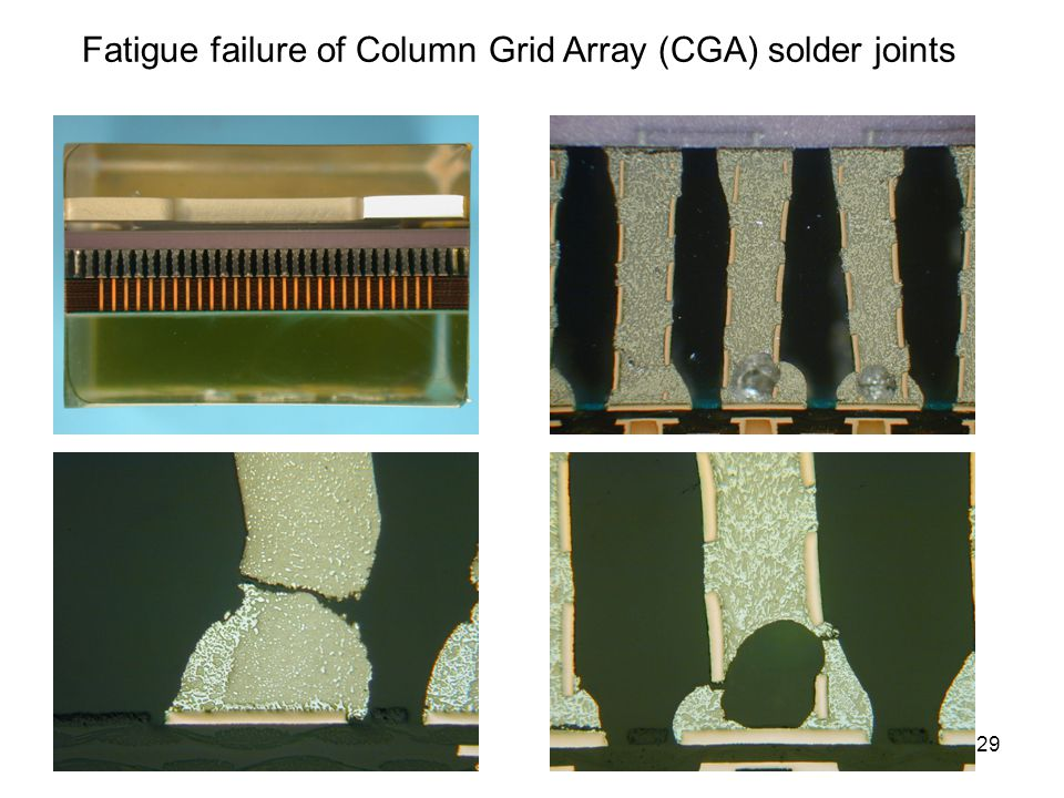 Fatigue failure of Column Grid Array (CGA) solder joints