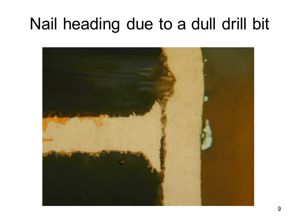 Nail heading due to a dull drill bit