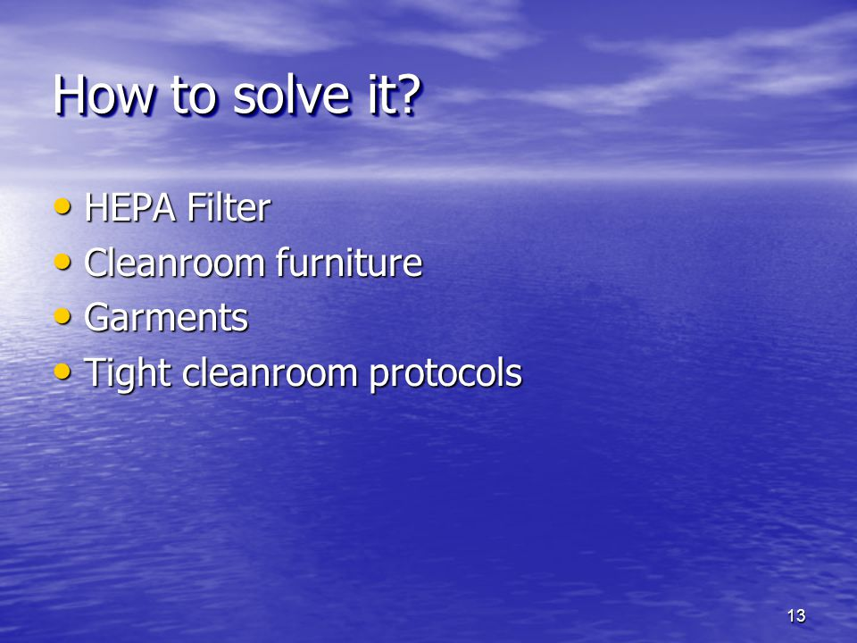 How to solve it HEPA Filter Cleanroom furniture Garments