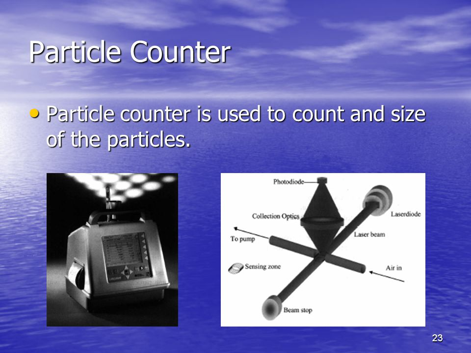 Particle Counter Particle counter is used to count and size of the particles.