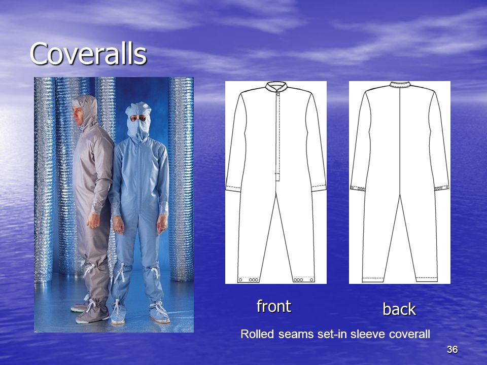 Coveralls front back Rolled seams set-in sleeve coverall