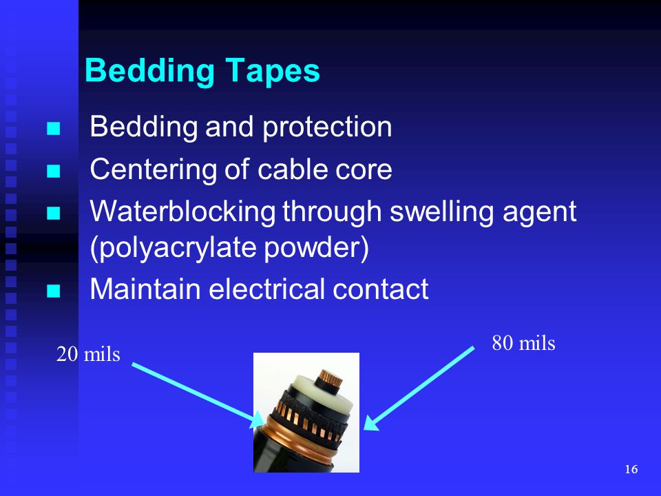 Bedding Tapes Bedding and protection Centering of cable core