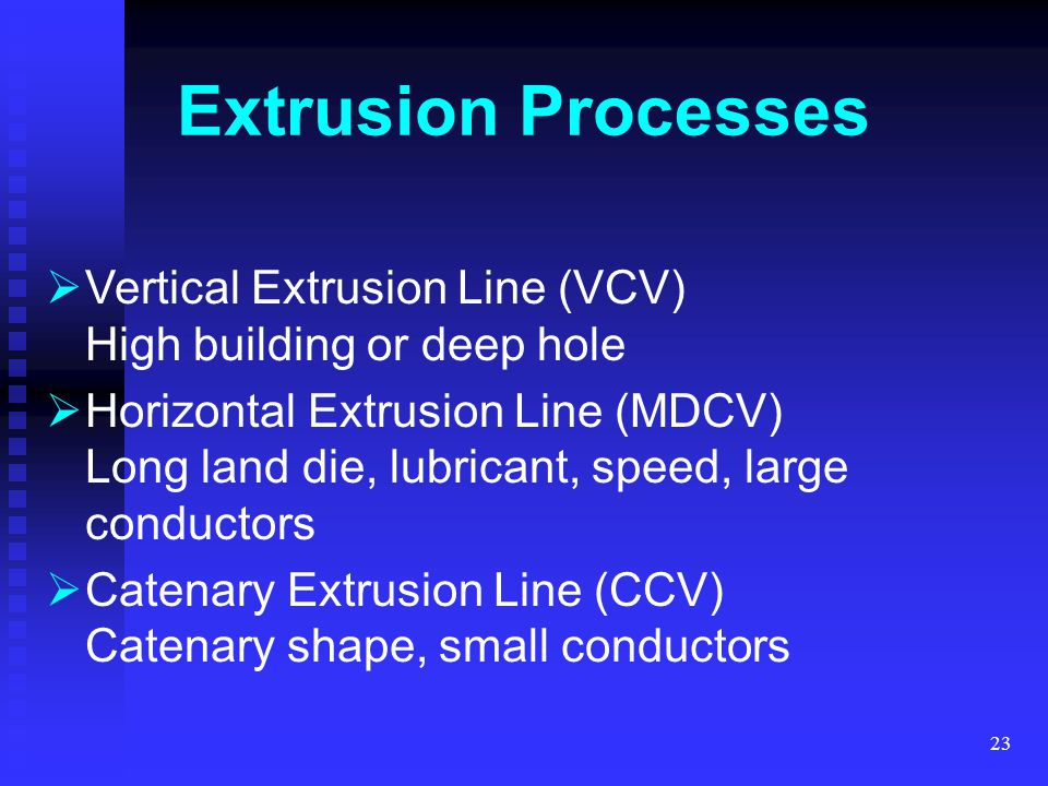 Extrusion Processes Vertical Extrusion Line (VCV) High building or deep hole.
