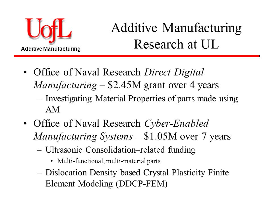 Additive Manufacturing Research at UL